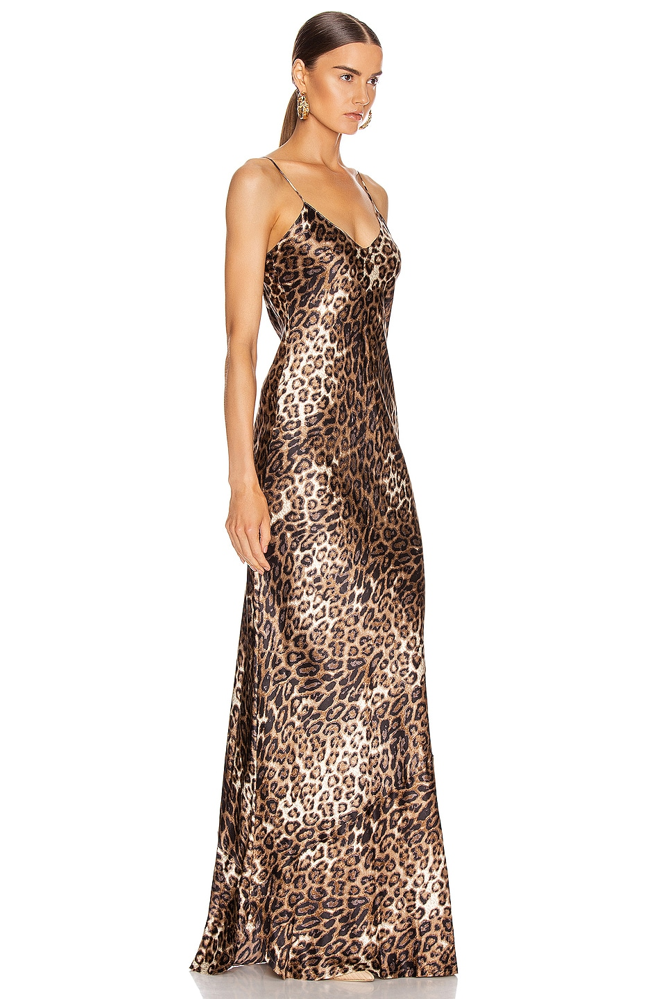 Image 2 of NILI LOTAN Cami Gown in Brown Leopard Print