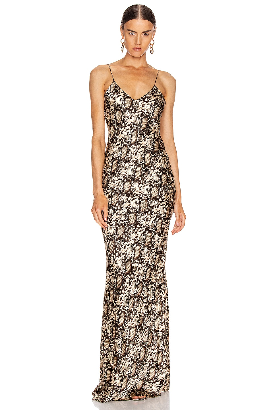 Image 1 of NILI LOTAN Cami Gown in Dark Brown Snake Print