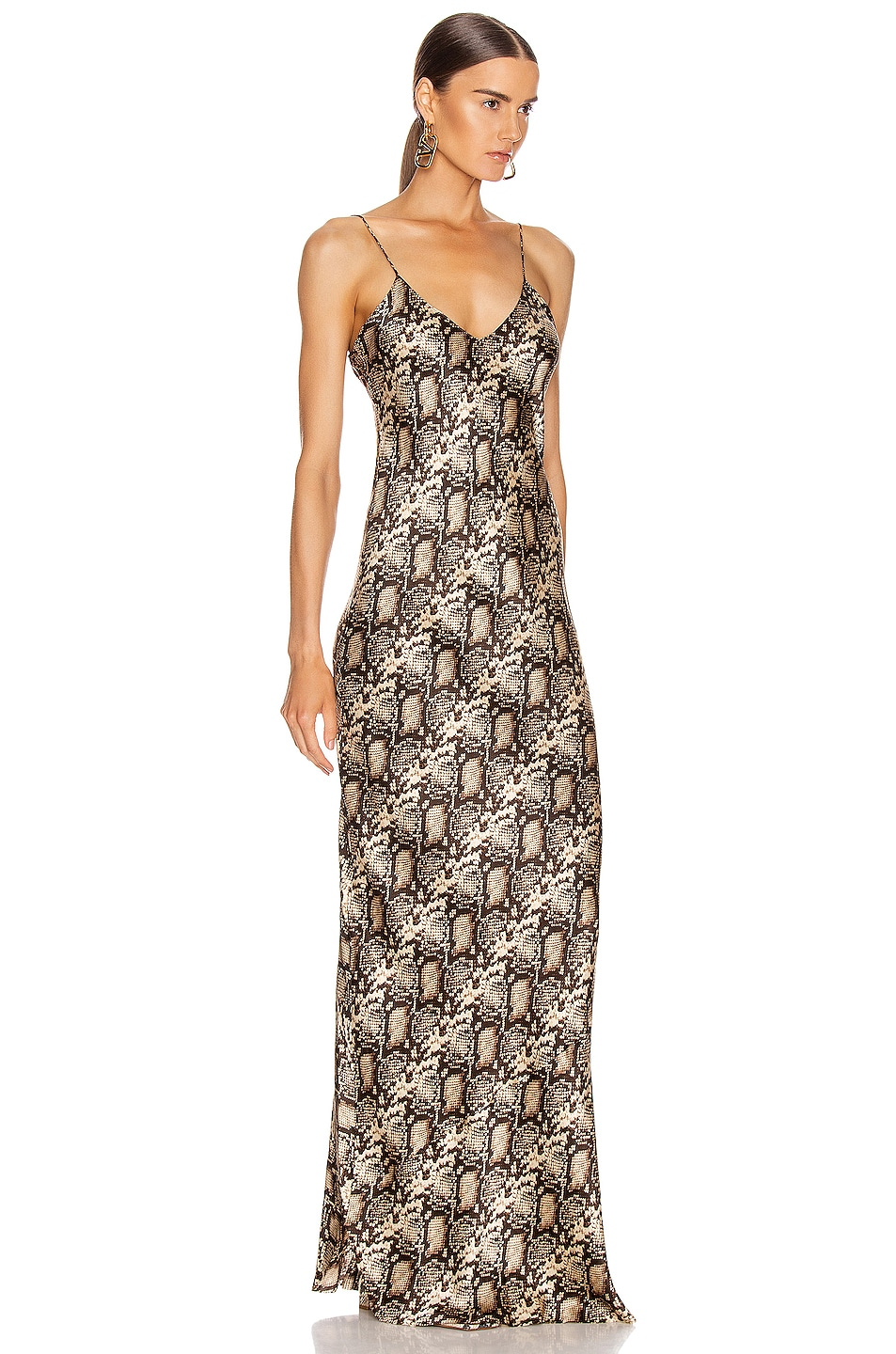 Image 2 of NILI LOTAN Cami Gown in Dark Brown Snake Print