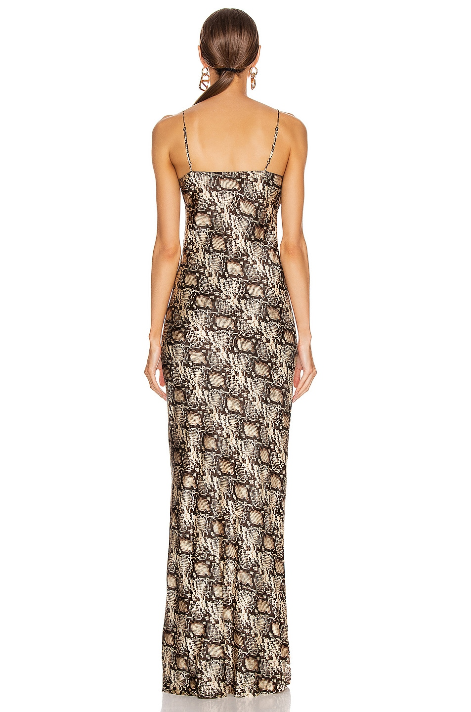 Image 3 of NILI LOTAN Cami Gown in Dark Brown Snake Print