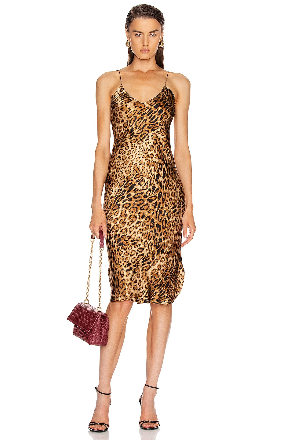 Image 1 of NILI LOTAN Short Cami Dress in Ginger Leopard Print