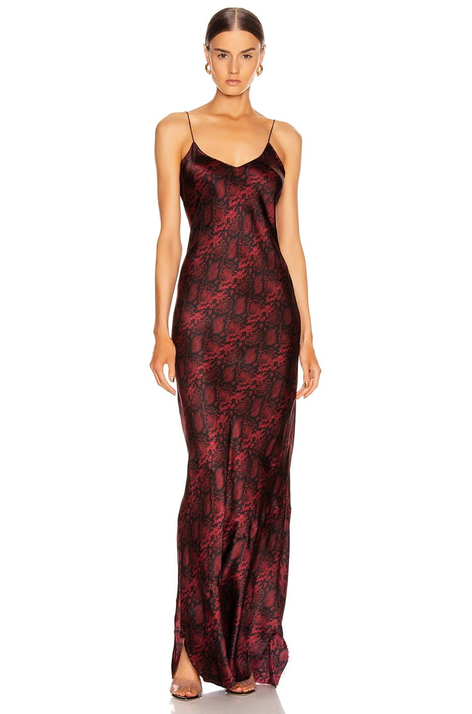 Image 1 of NILI LOTAN Cami Gown in Ruby Snake Print