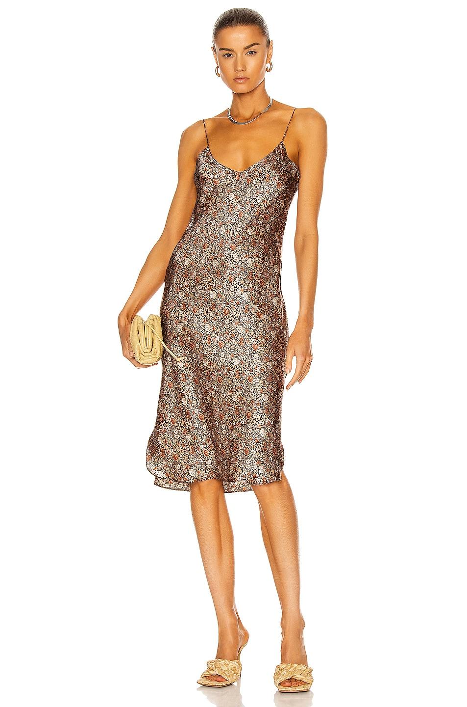 Image 1 of NILI LOTAN Short Cami Dress in Rust & Khaki Multi Floral