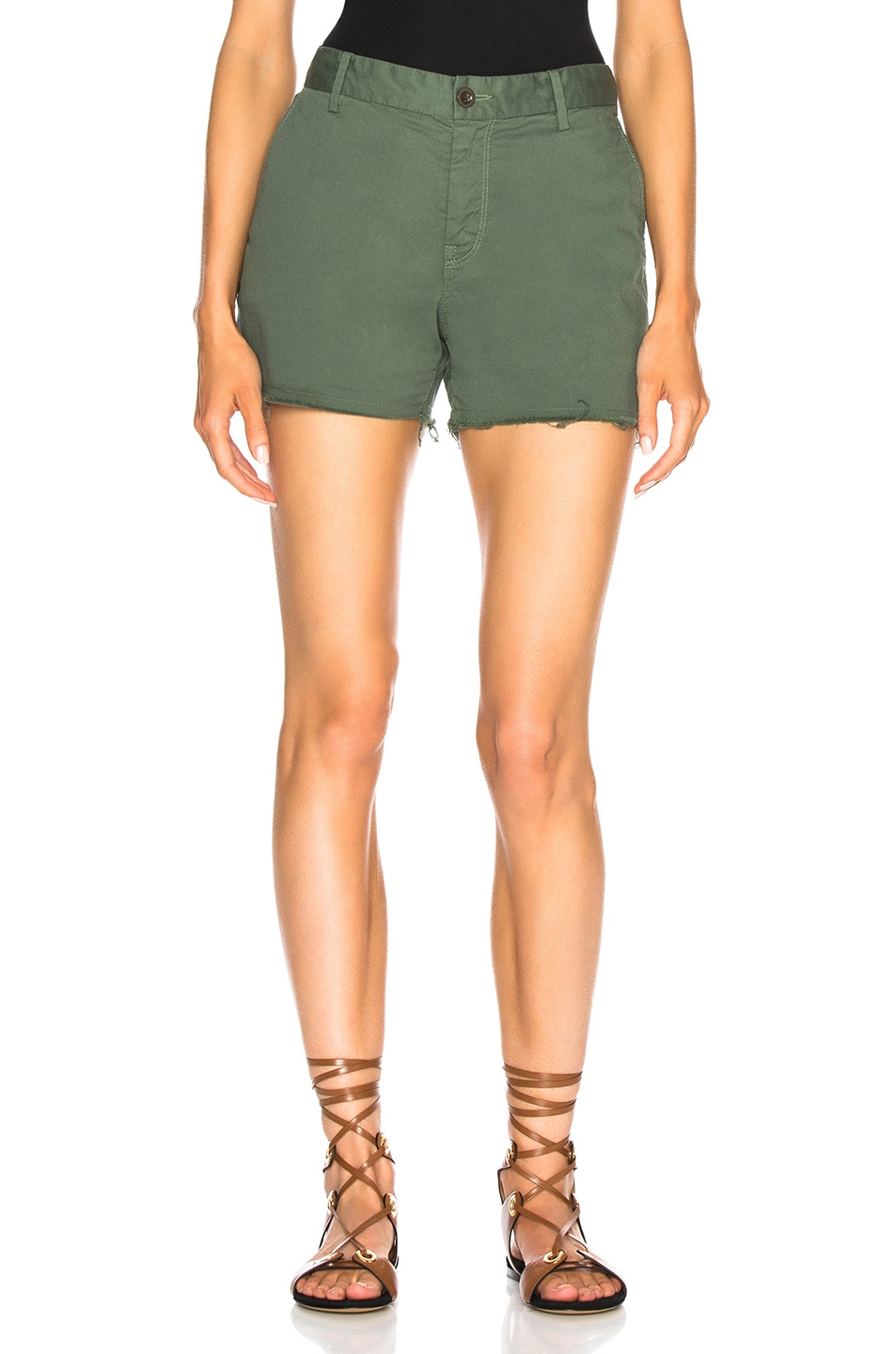 Army Green Raw Hem Denim Shorts