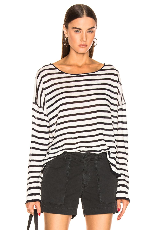Image 1 of NILI LOTAN Hanson Sweater in Ivory & Navy Stripe