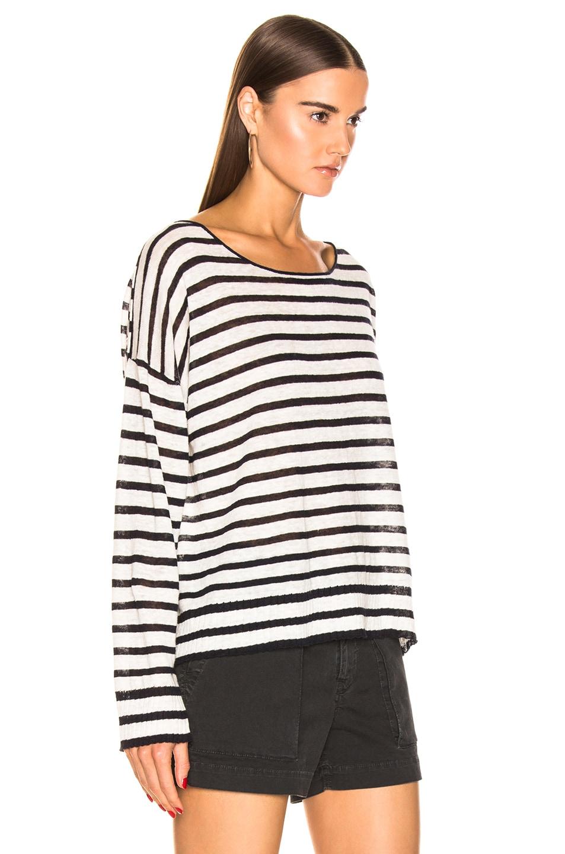 Image 2 of NILI LOTAN Hanson Sweater in Ivory & Navy Stripe