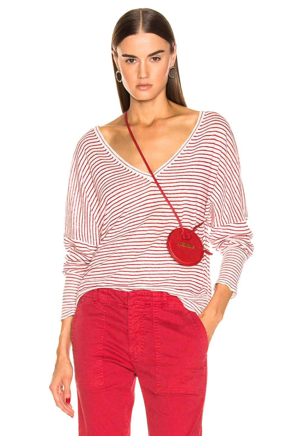 Image 1 of NILI LOTAN Maggie Sweater in Ivory & Red Stripe