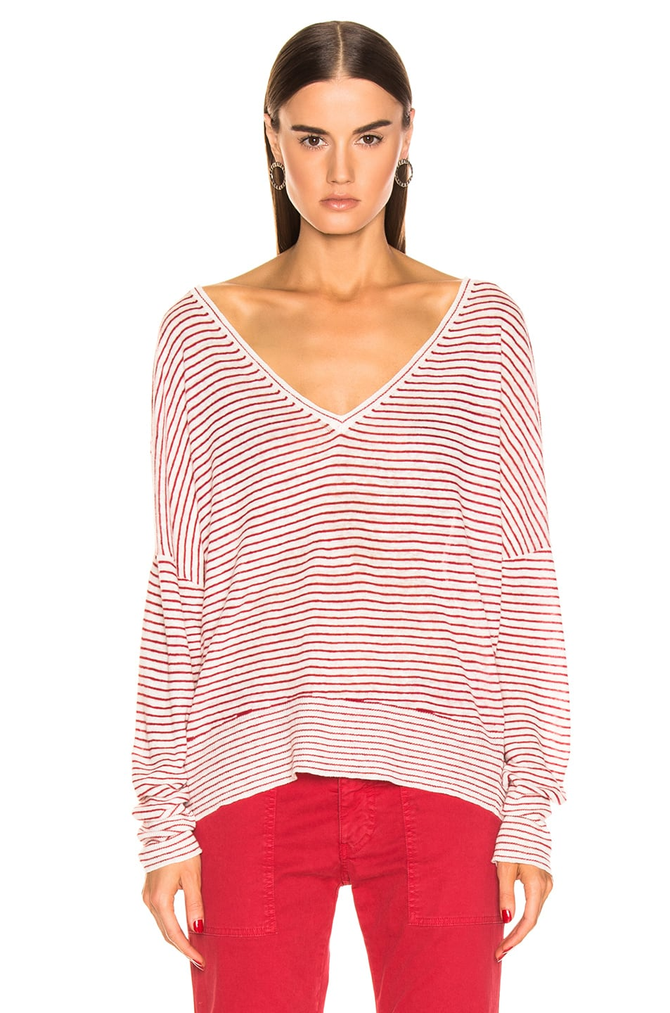 Image 2 of NILI LOTAN Maggie Sweater in Ivory & Red Stripe