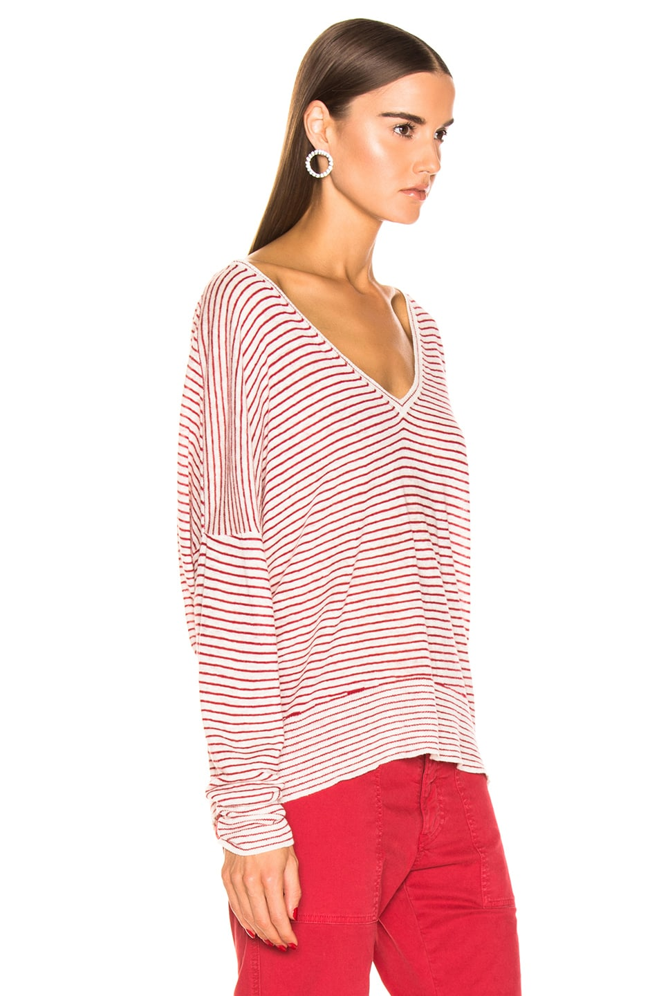 Image 3 of NILI LOTAN Maggie Sweater in Ivory & Red Stripe