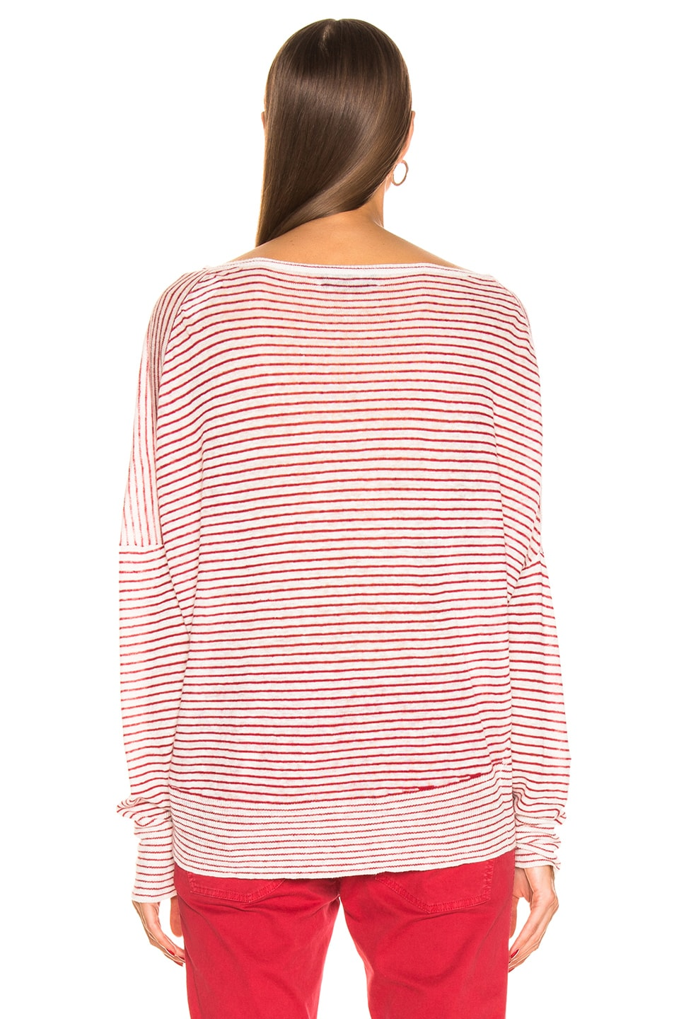 Image 4 of NILI LOTAN Maggie Sweater in Ivory & Red Stripe