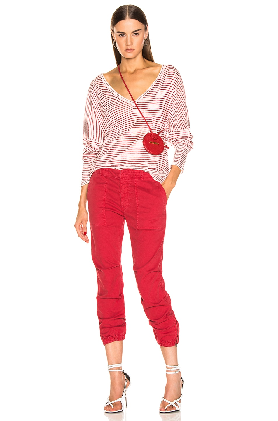 Image 5 of NILI LOTAN Maggie Sweater in Ivory & Red Stripe