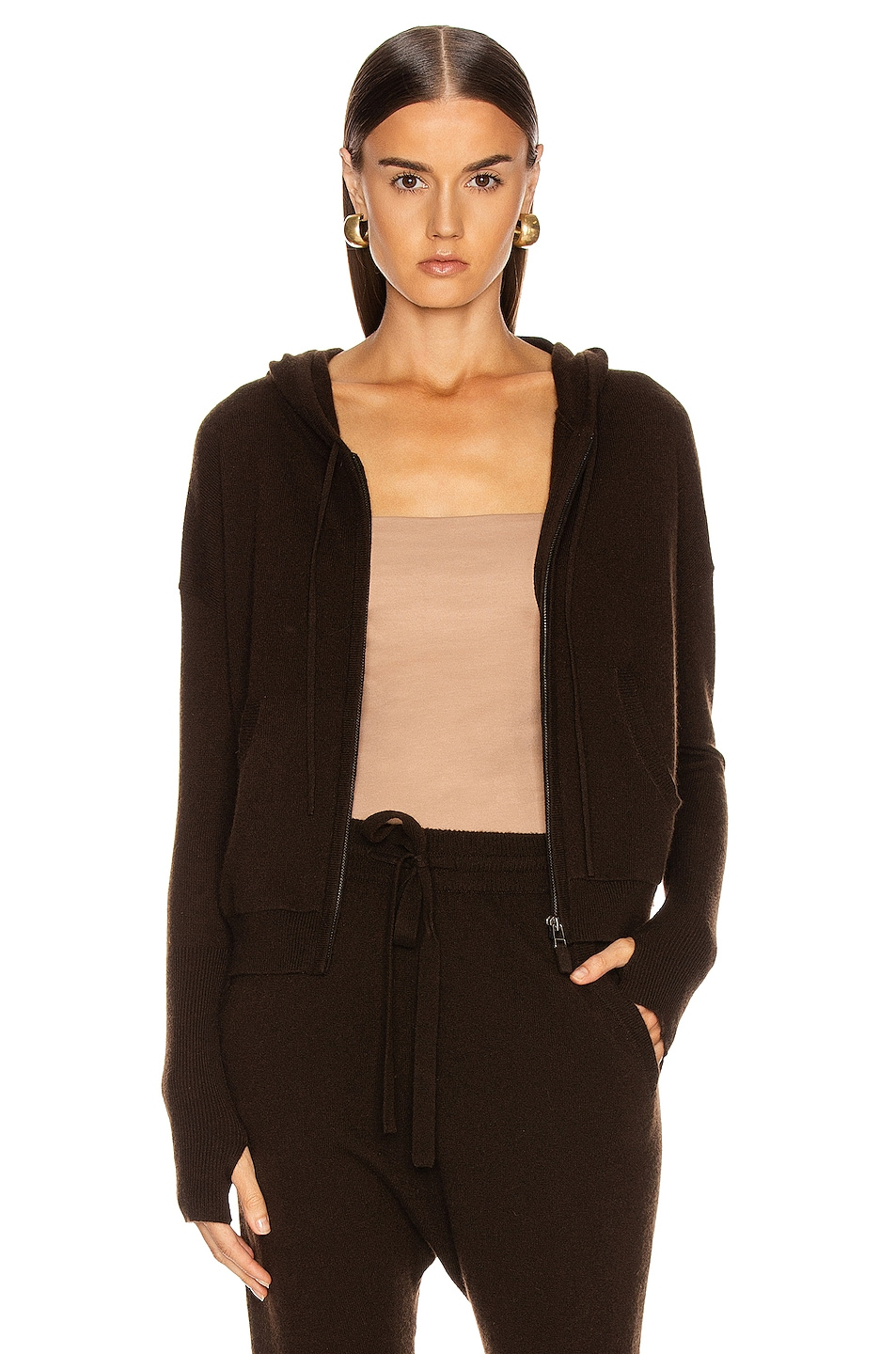 Image 1 of NILI LOTAN Emmaline Cashmere Zip Front Hoodie in Chocolate