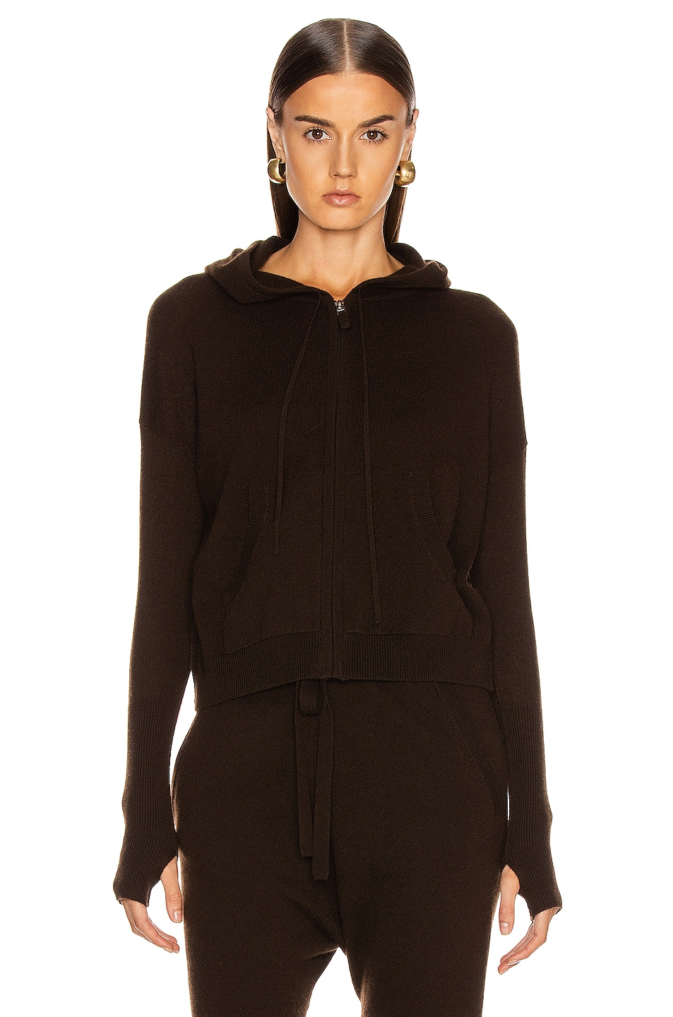 Image 2 of NILI LOTAN Emmaline Cashmere Zip Front Hoodie in Chocolate