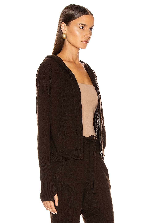 Image 3 of NILI LOTAN Emmaline Cashmere Zip Front Hoodie in Chocolate