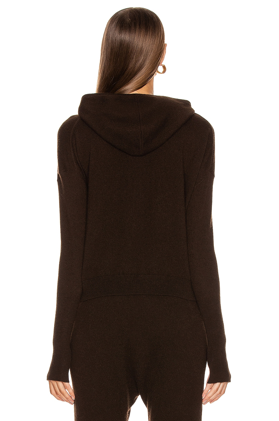 Image 4 of NILI LOTAN Emmaline Cashmere Zip Front Hoodie in Chocolate