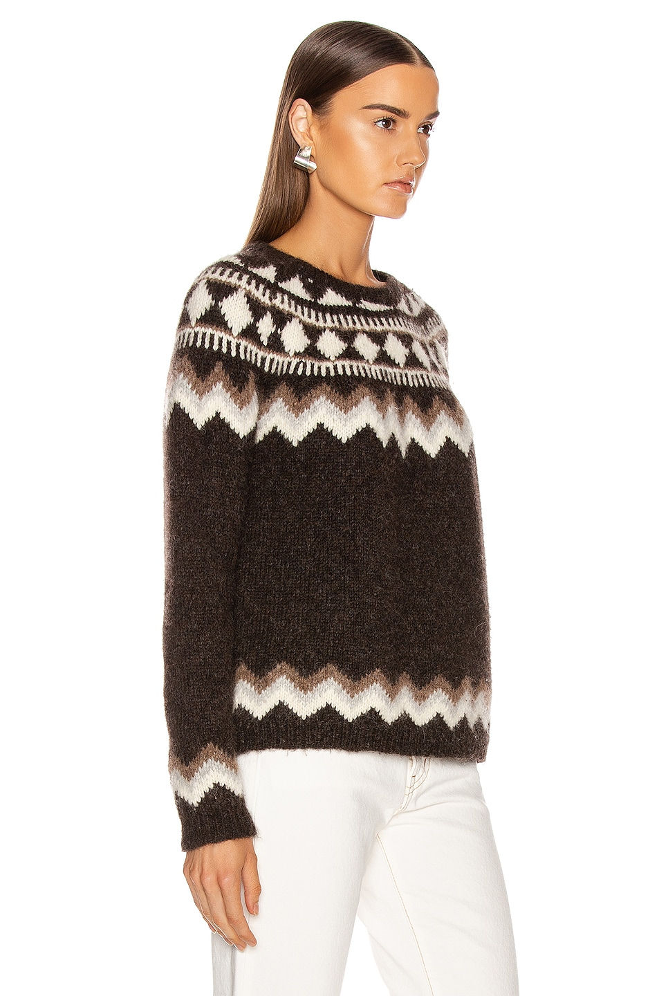 Image 2 of NILI LOTAN Adene Sweater in Chocolate Fairisle