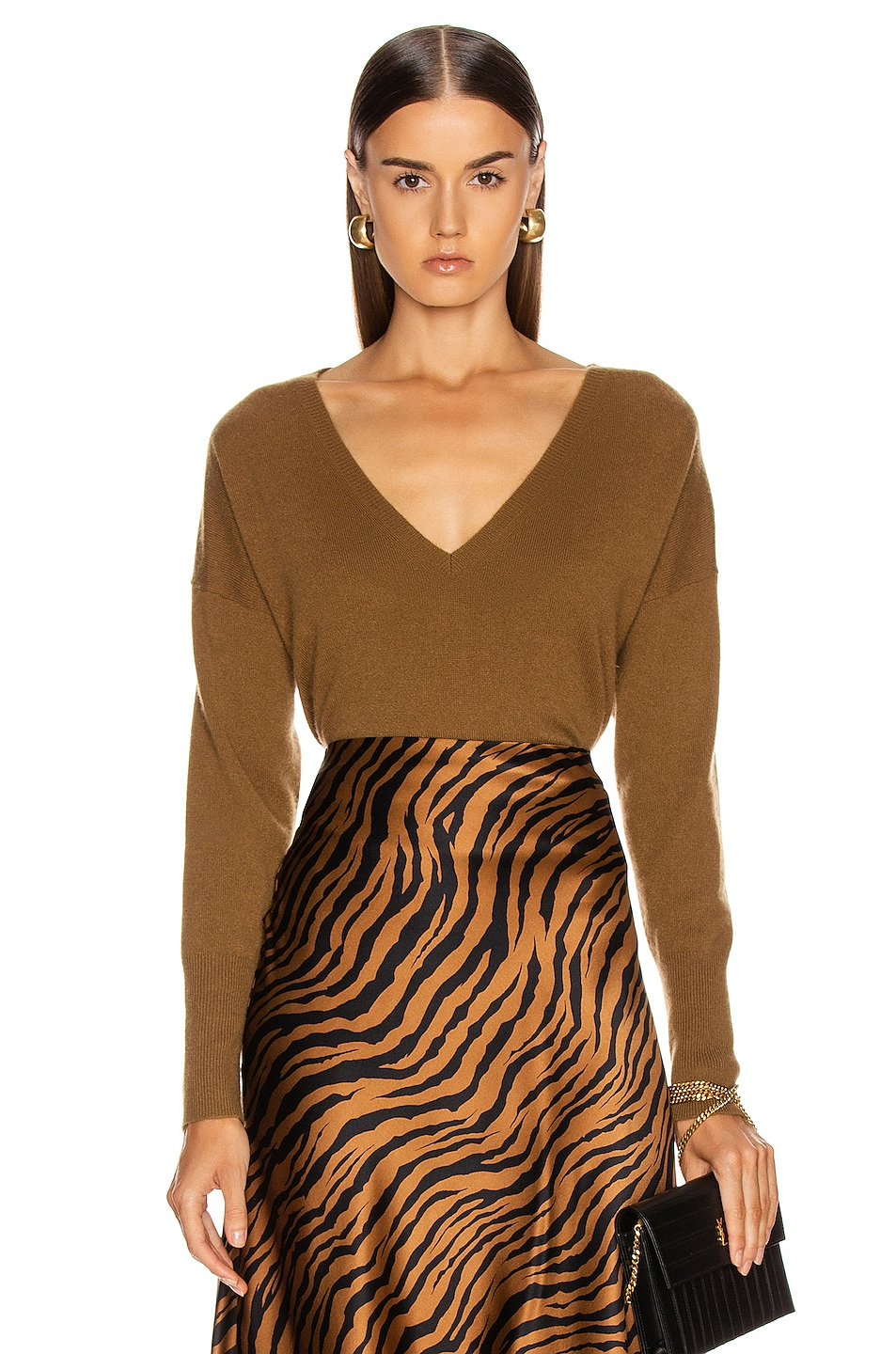 Image 1 of NILI LOTAN Kylan Cashmere Sweater in Bourbon