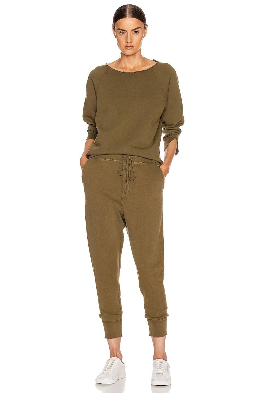 Image 4 of NILI LOTAN Luka Scoop Neck Sweatshirt in Army Green