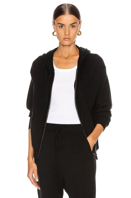 Image 1 of NILI LOTAN Emmaline Cashmere Zip Front Hoodie in Black
