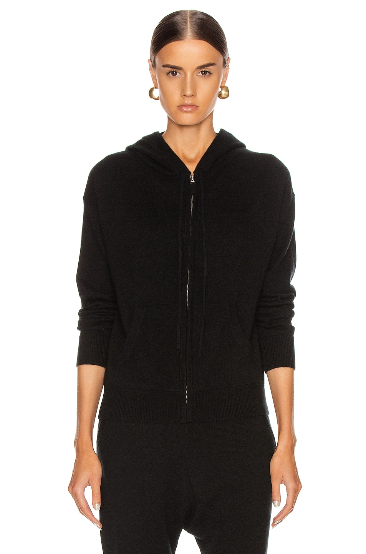 Image 2 of NILI LOTAN Emmaline Cashmere Zip Front Hoodie in Black