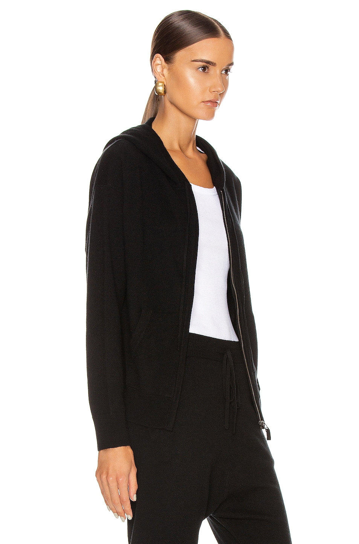 Image 3 of NILI LOTAN Emmaline Cashmere Zip Front Hoodie in Black
