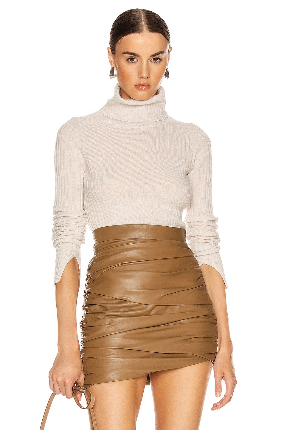 Image 1 of NILI LOTAN Myla Cashmere Turtleneck Sweater in Ivory