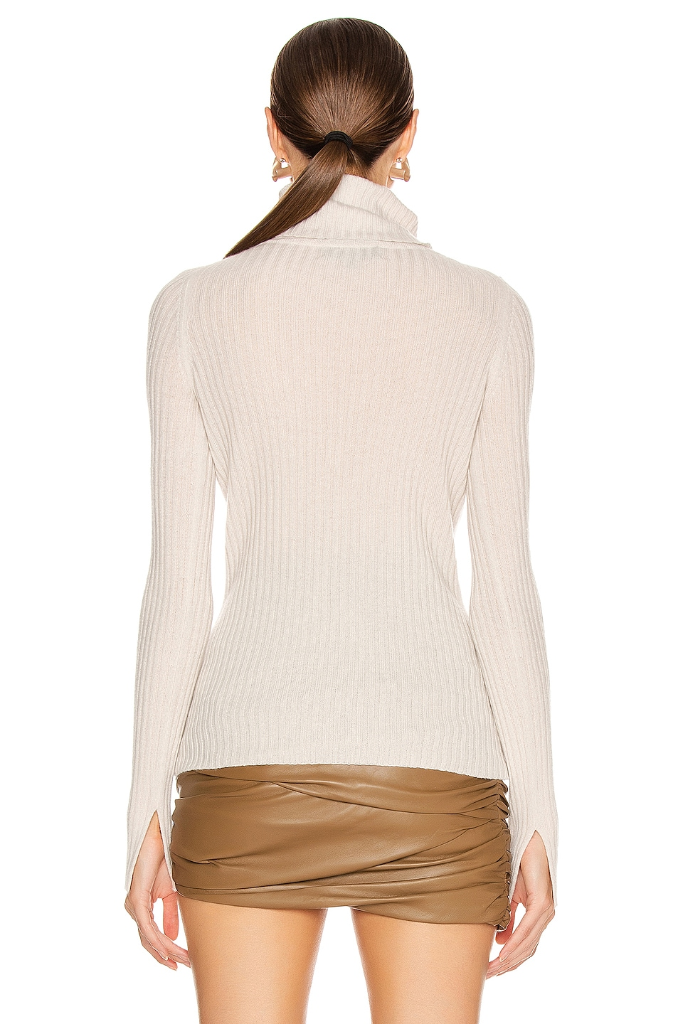 Image 3 of NILI LOTAN Myla Cashmere Turtleneck Sweater in Ivory