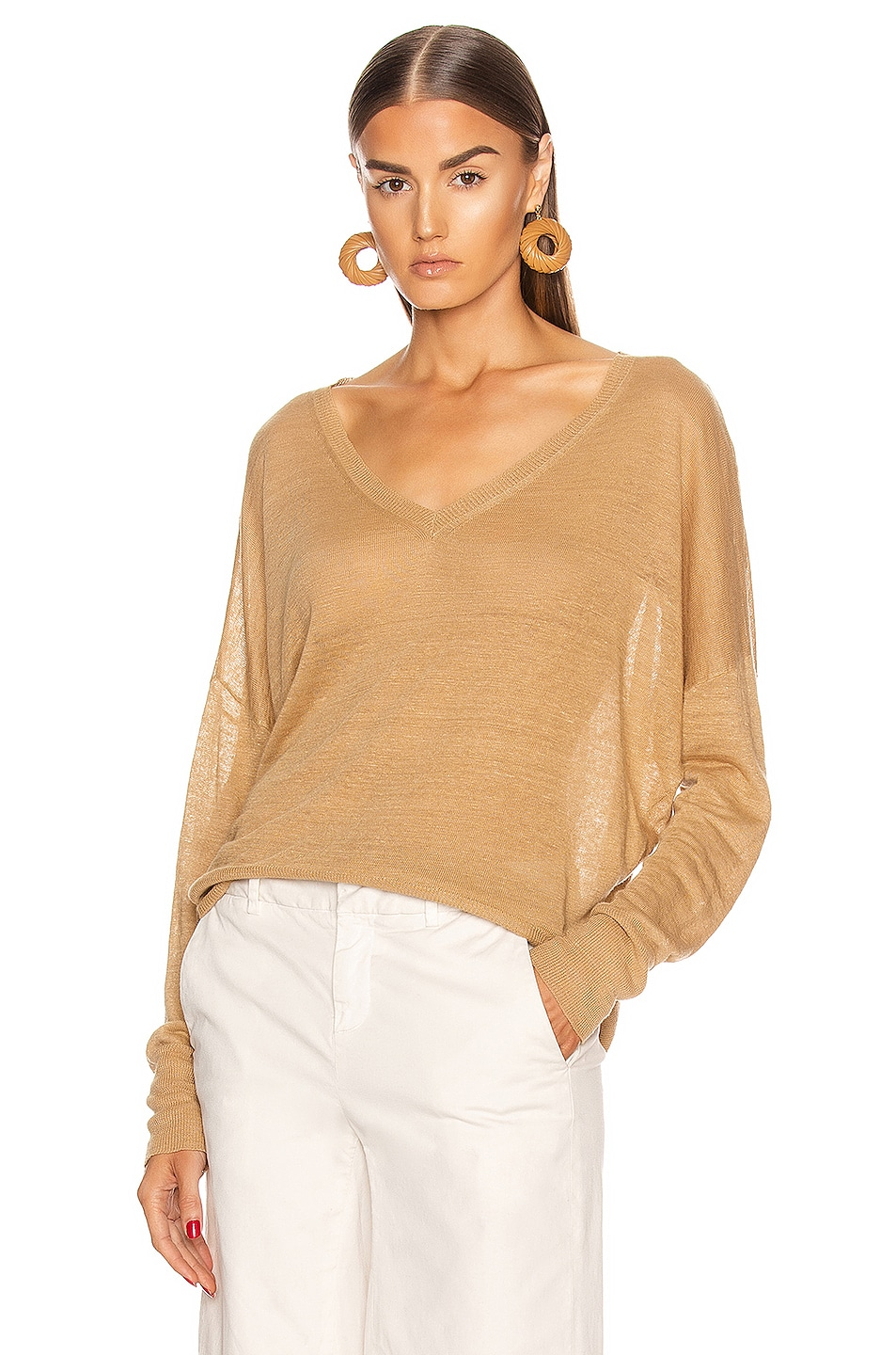 Image 1 of NILI LOTAN Ginny Linen Sweater in Jute