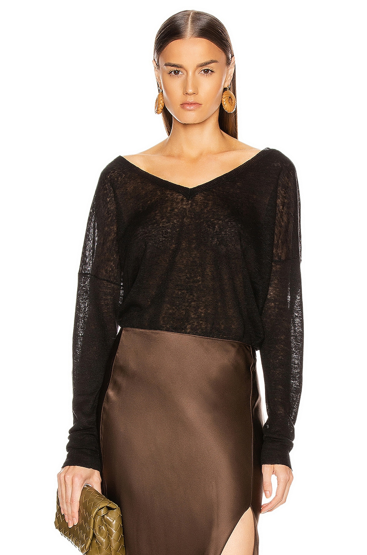 Image 1 of NILI LOTAN Nina Linen Sweater in Black