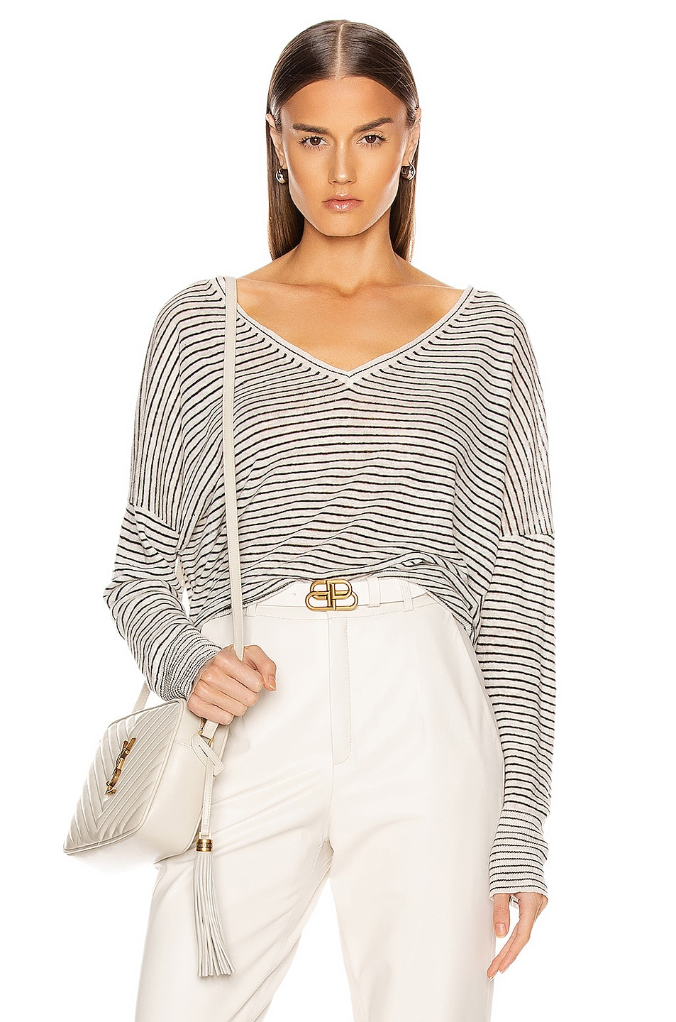 Image 1 of NILI LOTAN Maggie Linen Sweater in Ivory & Black Stripe