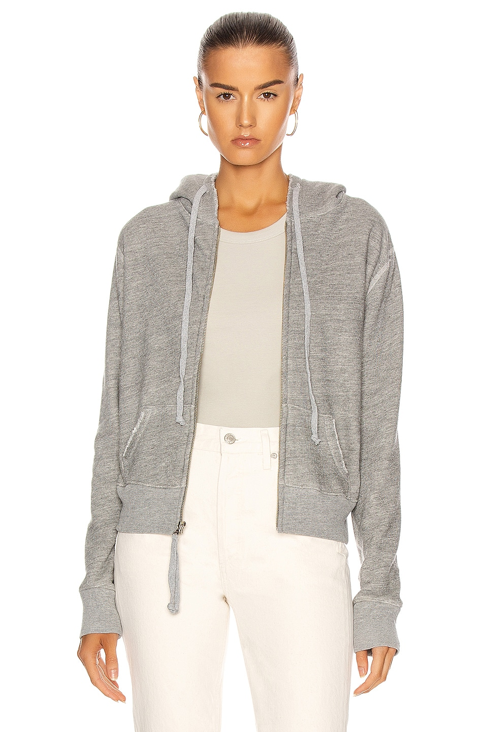 Image 1 of NILI LOTAN Callie Zip Up Hoodie in Heather Grey
