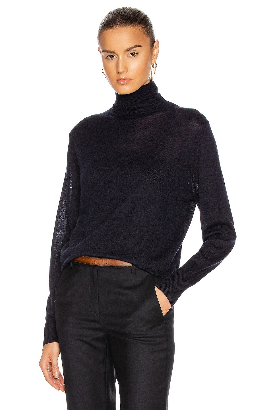 Image 1 of NILI LOTAN Bella Turtleneck in Navy