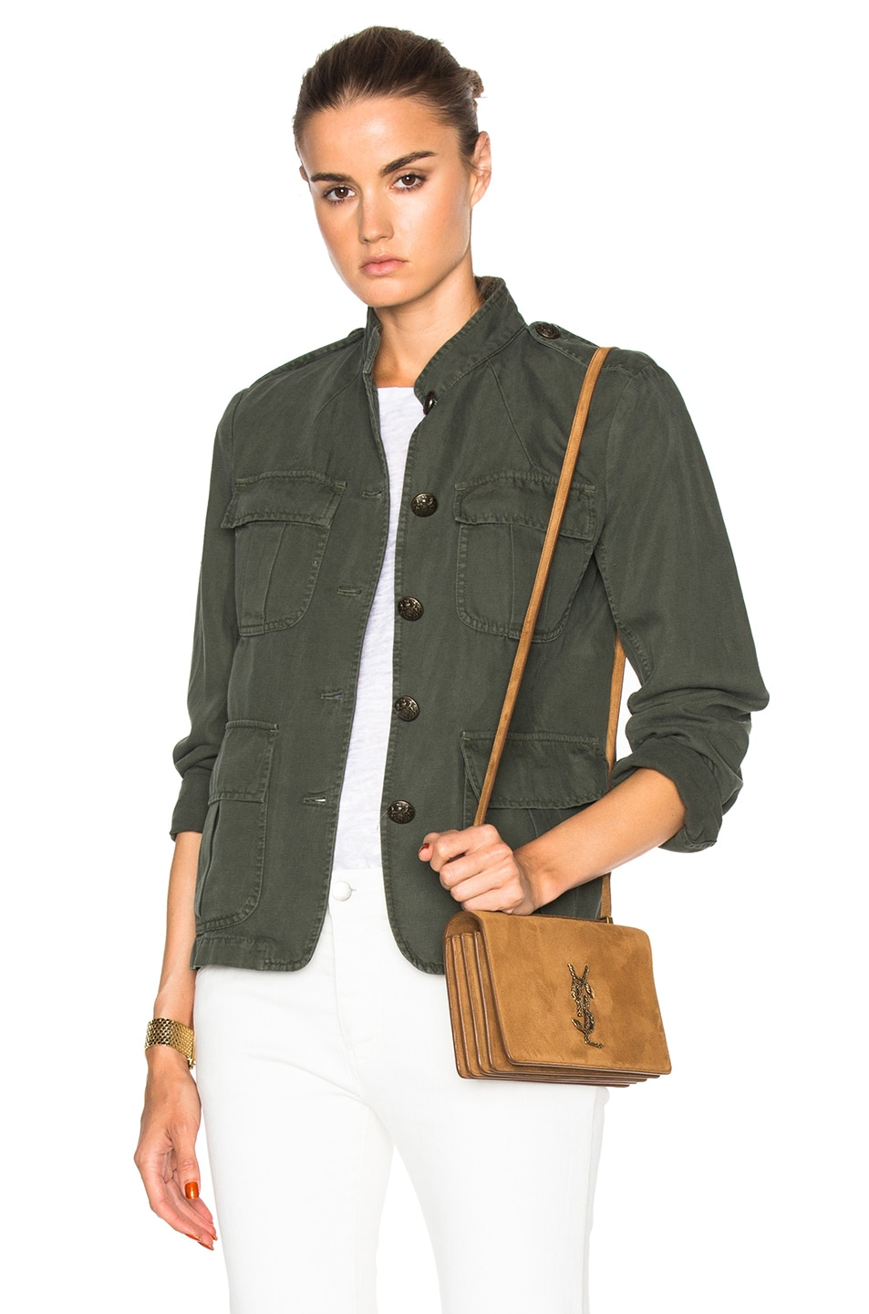 Image 1 of Nili Lotan Cambre Jacket in Pine Green