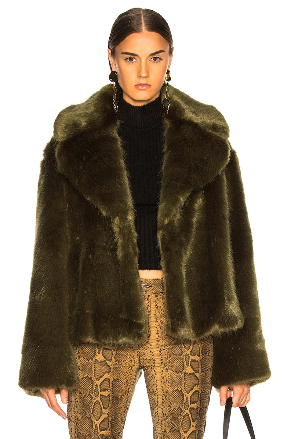 NILI LOTAN Sedella Faux Fur Coat Olive high-quality
