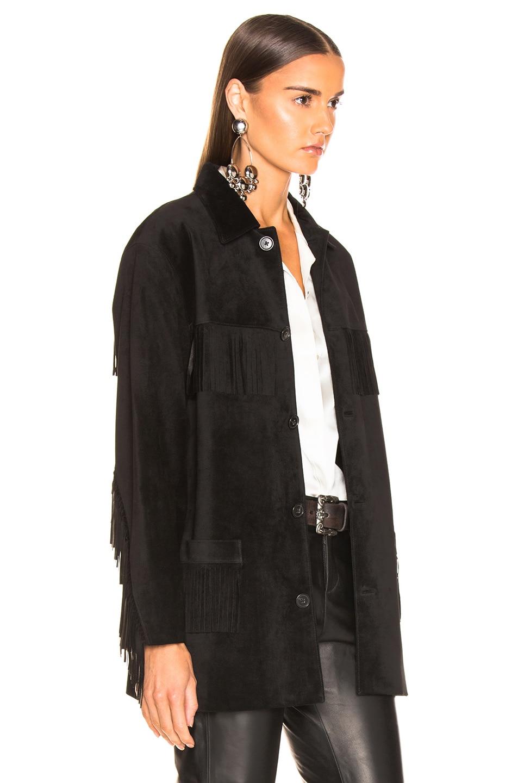 Image 3 of NILI LOTAN Leather Fringe Jacket in Black