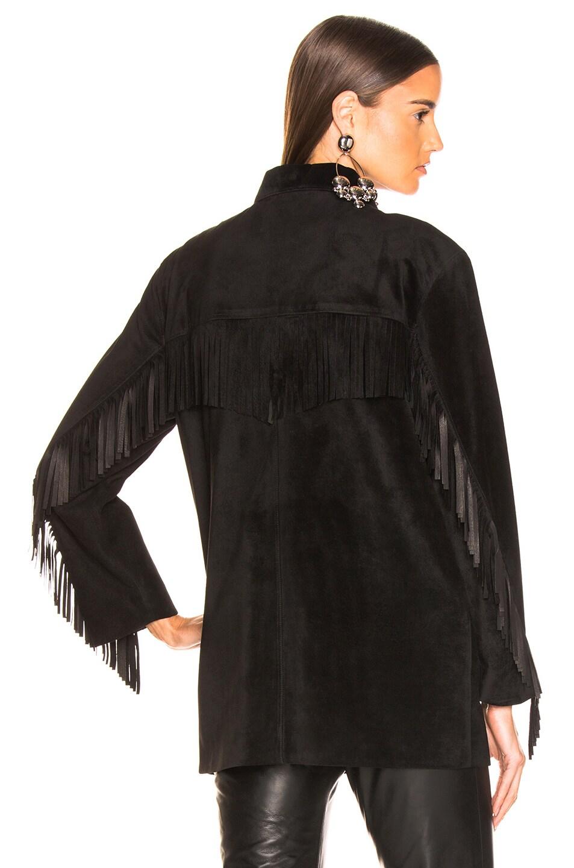 Image 4 of NILI LOTAN Leather Fringe Jacket in Black
