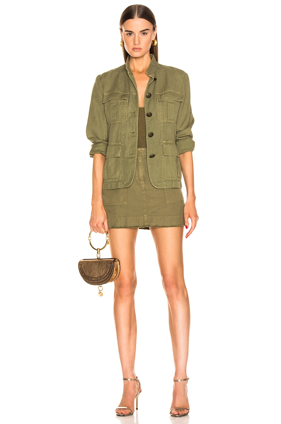 Image 4 of NILI LOTAN Cambre Jacket in Uniform Green