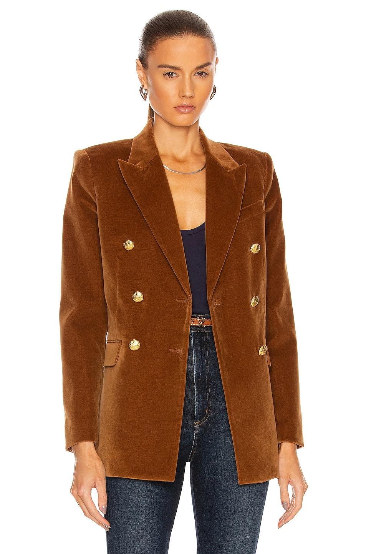 Image 1 of NILI LOTAN Francine Velvet Jacket in Caramel