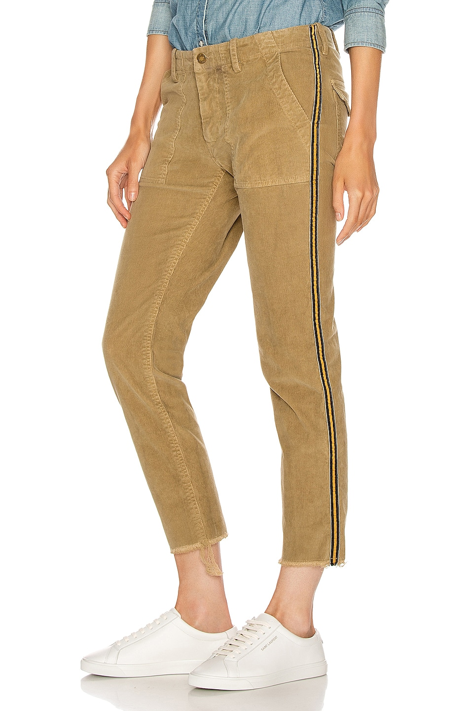 Image 1 of NILI LOTAN Jenna Pant with Tape in Mossy Gold, Black & Gold