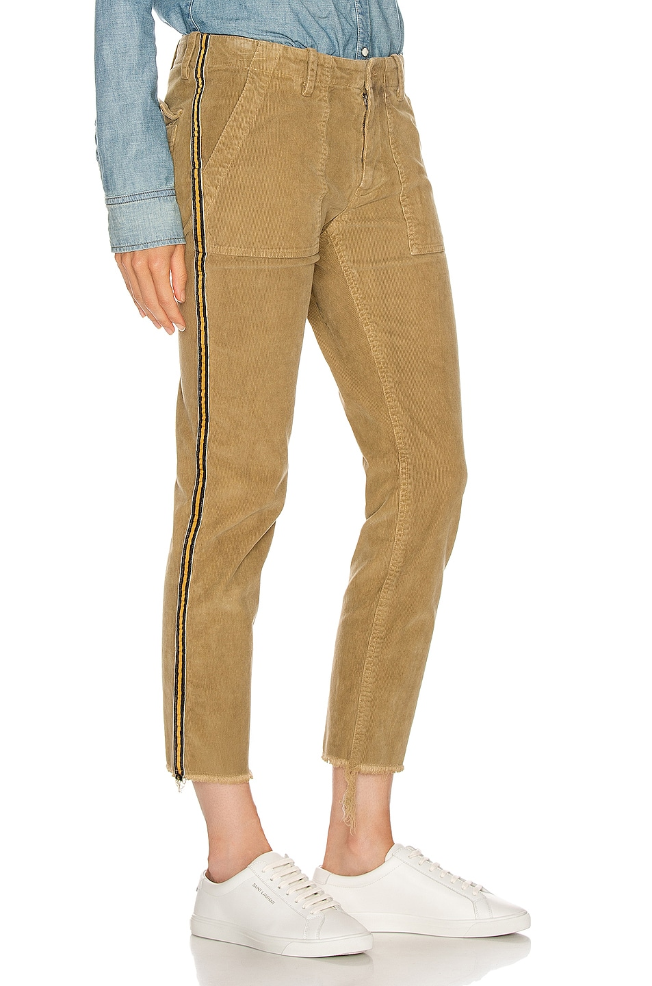 Image 3 of NILI LOTAN Jenna Pant with Tape in Mossy Gold, Black & Gold