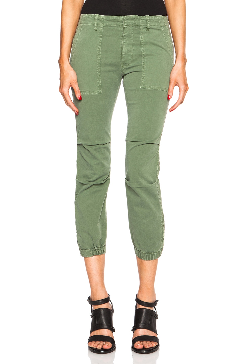 Image 1 of NILI LOTAN Cropped Cotton-Blend Military Pants in Camo Green