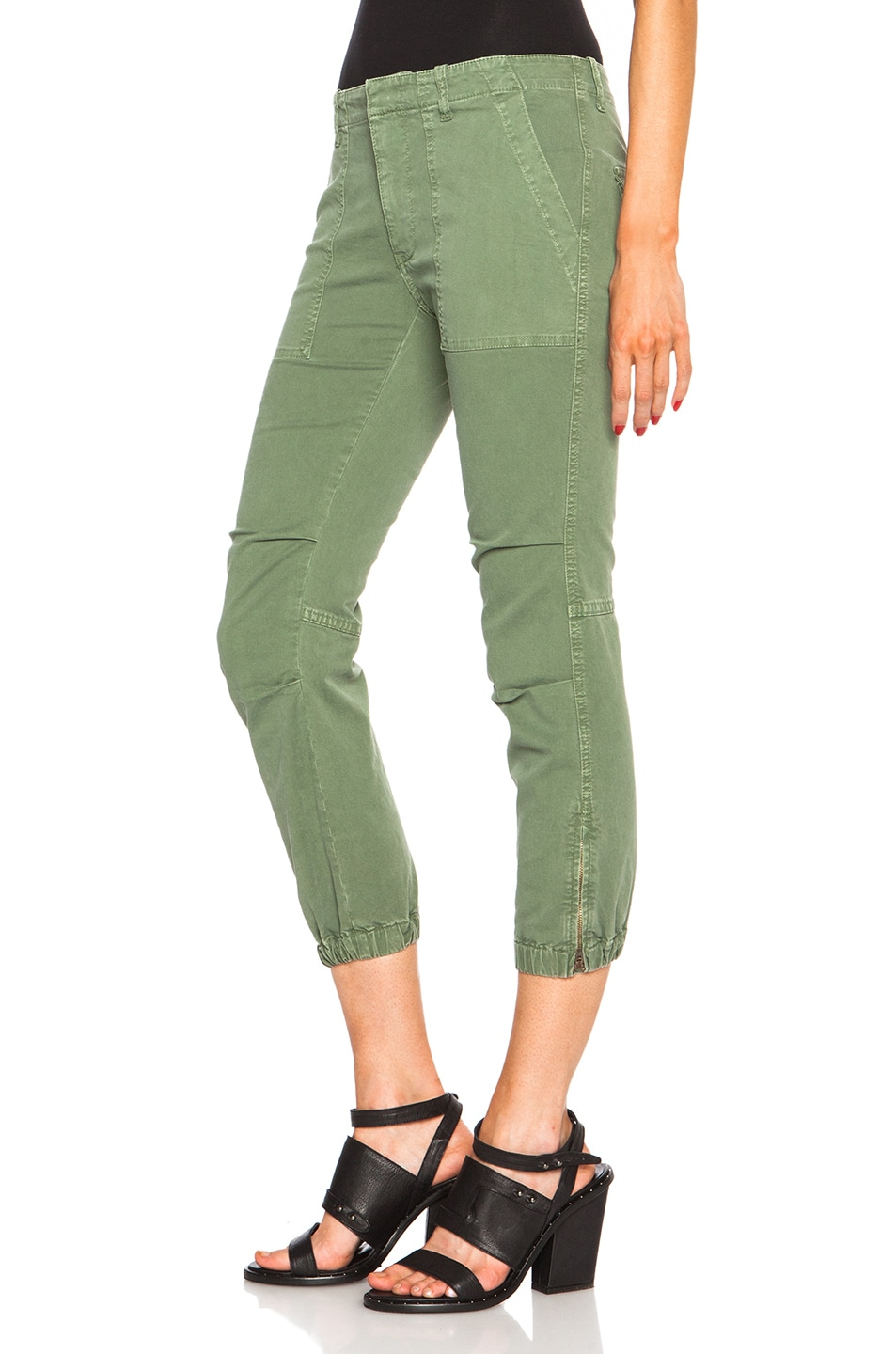 Image 2 of NILI LOTAN Cropped Cotton-Blend Military Pants in Camo Green