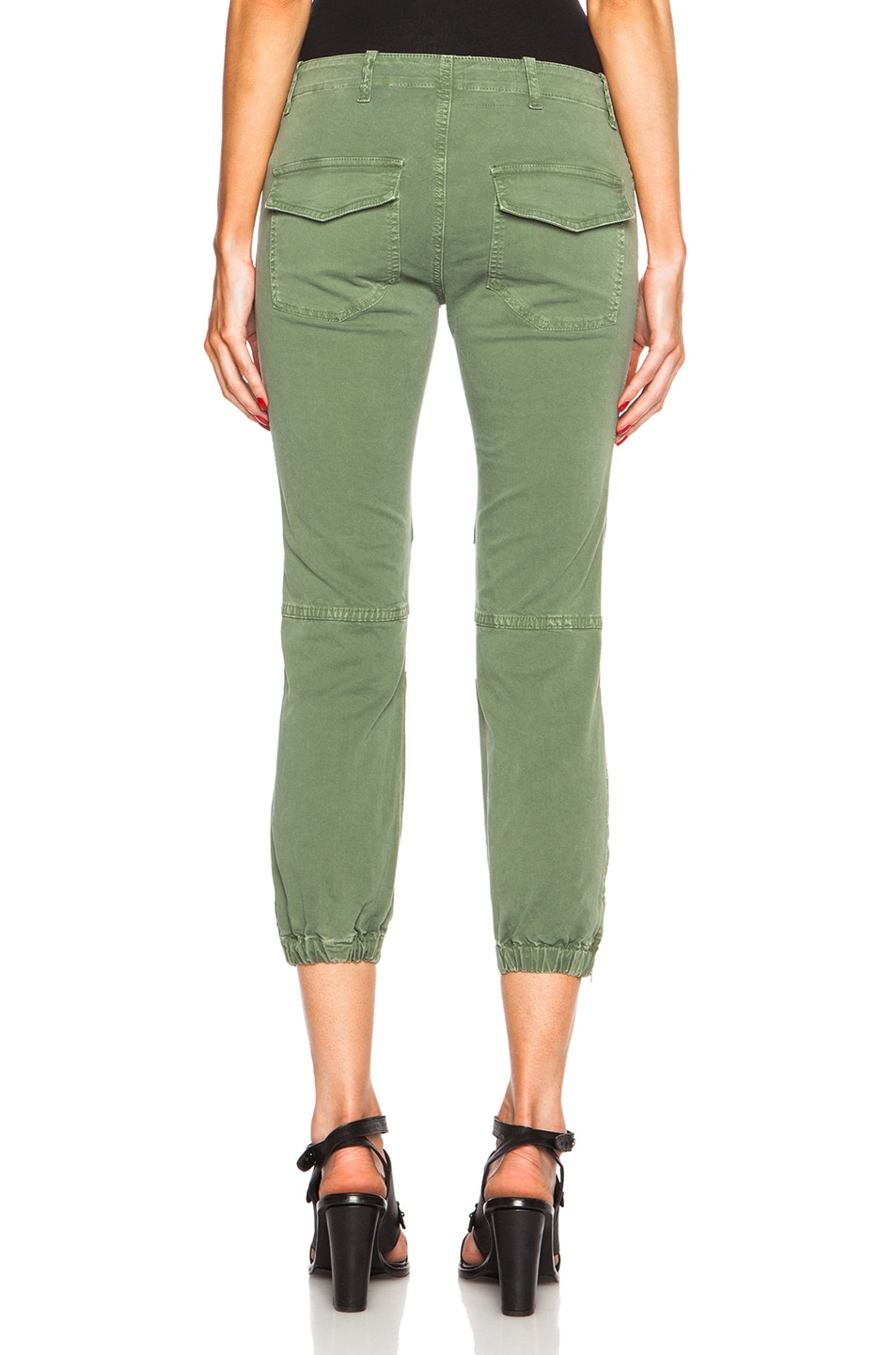 Image 4 of NILI LOTAN Cropped Cotton-Blend Military Pants in Camo Green