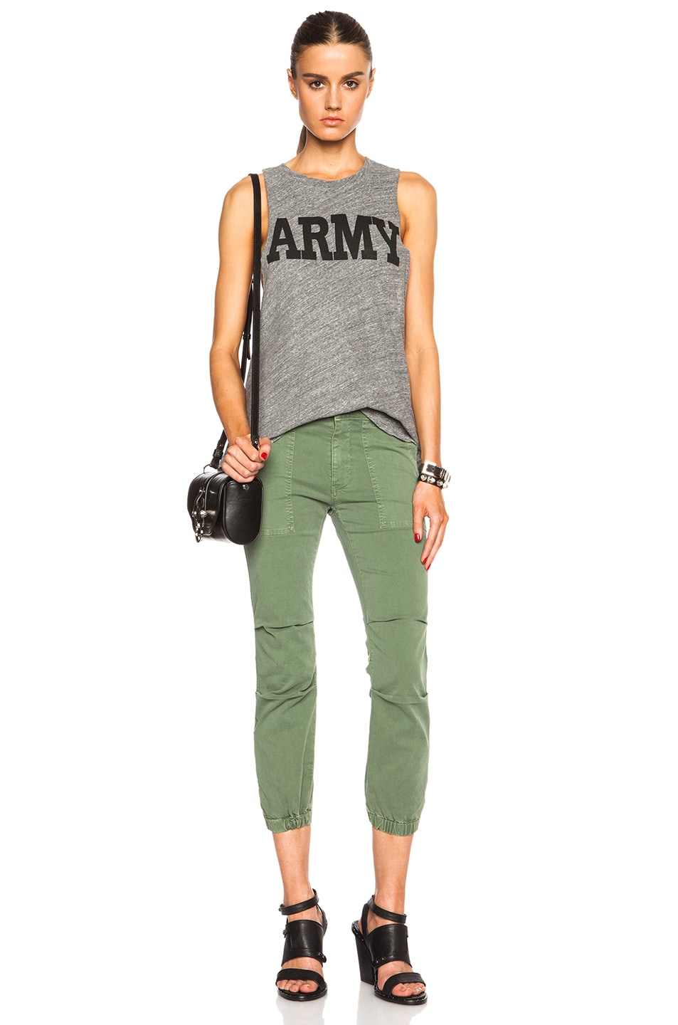 Image 5 of NILI LOTAN Cropped Cotton-Blend Military Pants in Camo Green