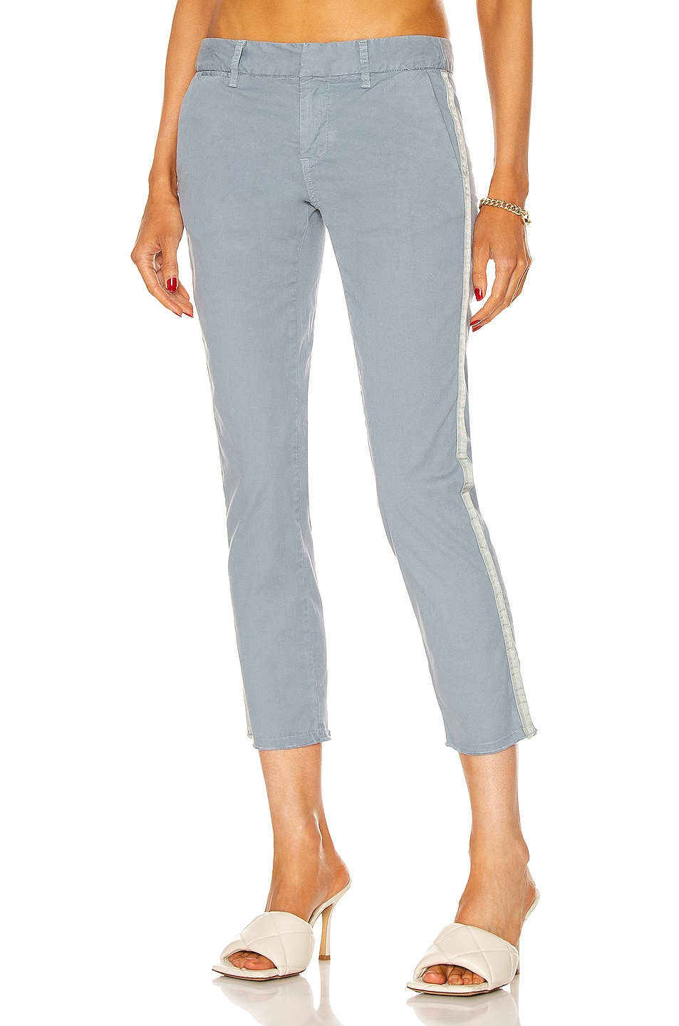 Image 1 of NILI LOTAN East Hampton Tape Pant in Slate Blue & Light Grey Tape