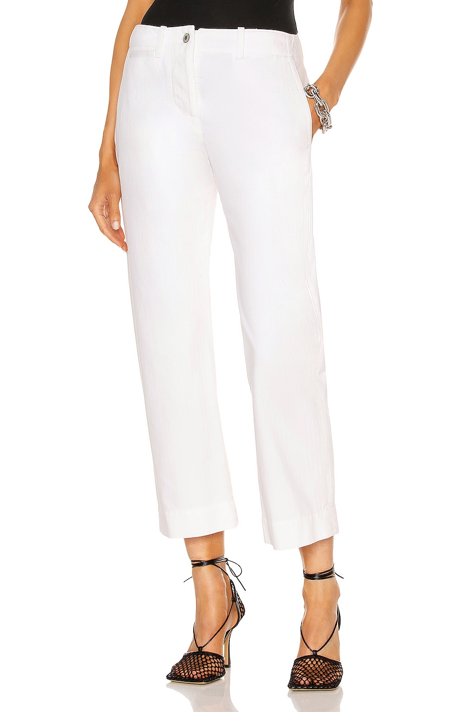 Image 1 of NILI LOTAN Tomboy Pant with Cuff in White