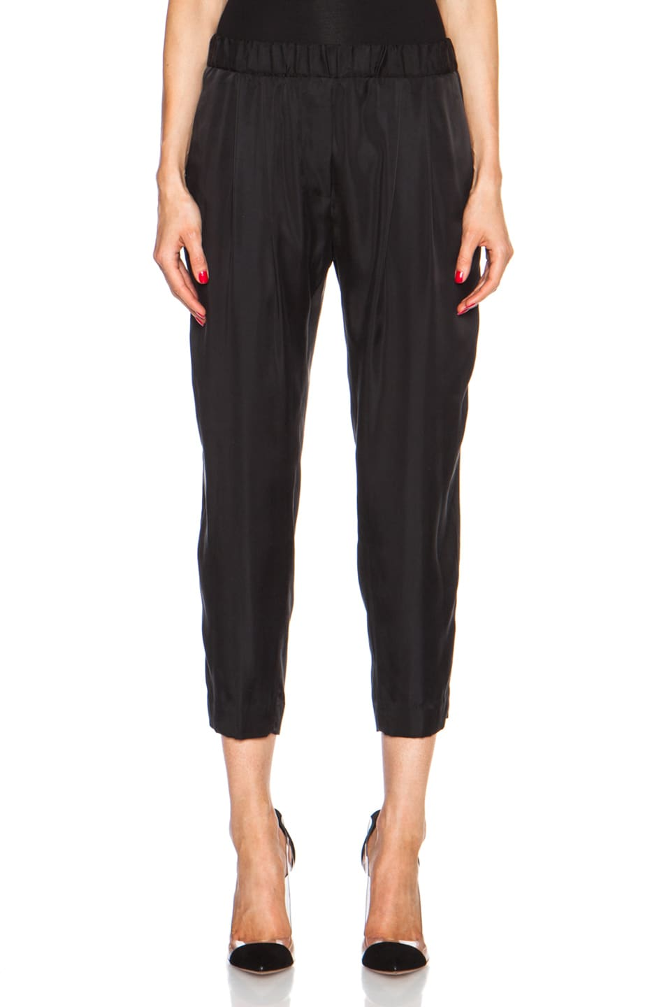 Image 1 of Nili Lotan Cropped Slouchy Cupro-Blend Pant in Black