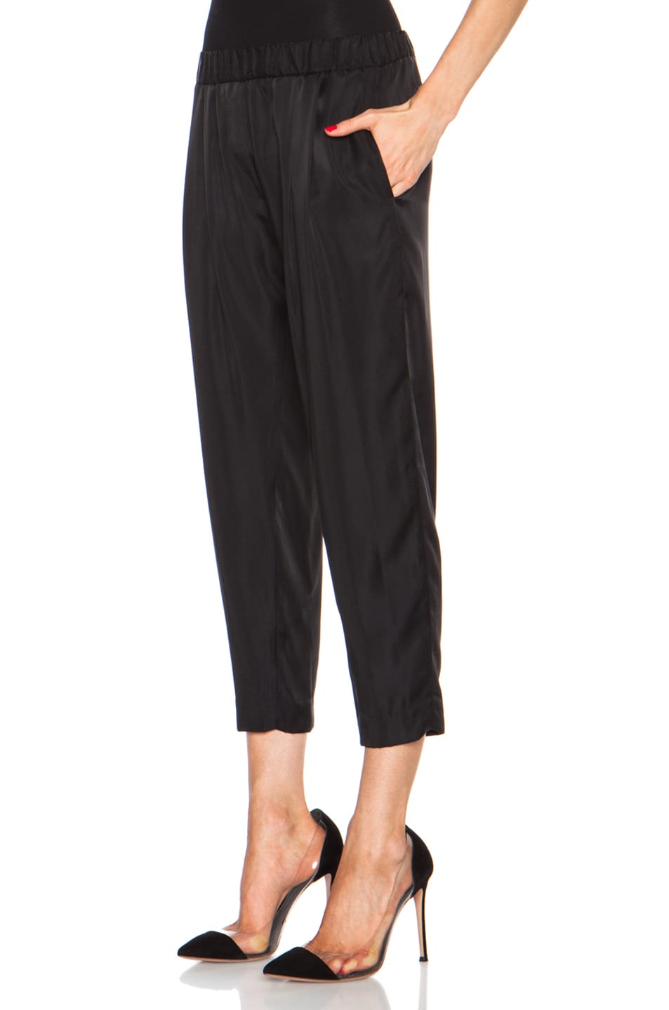 Image 2 of Nili Lotan Cropped Slouchy Cupro-Blend Pant in Black