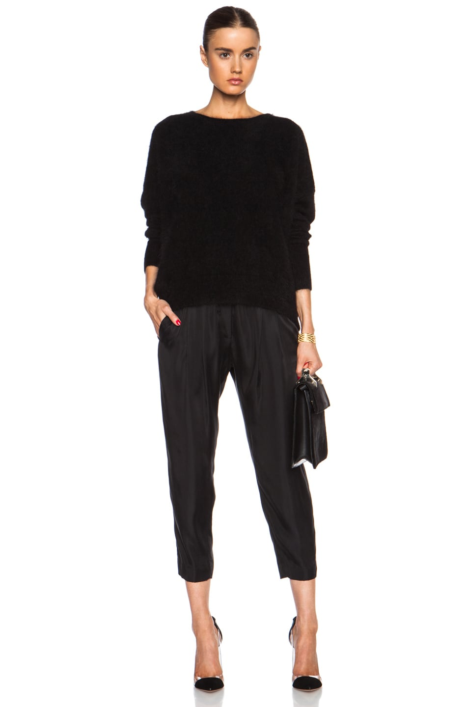 Image 5 of Nili Lotan Cropped Slouchy Cupro-Blend Pant in Black