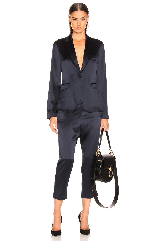 Image 4 of NILI LOTAN Silk Paris Pant in Dark Navy